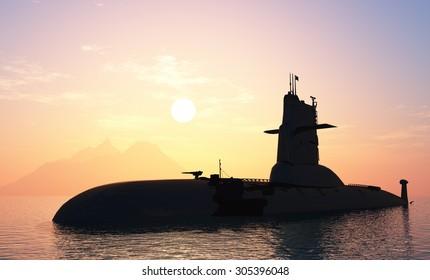 Submarine at sea at sunset.