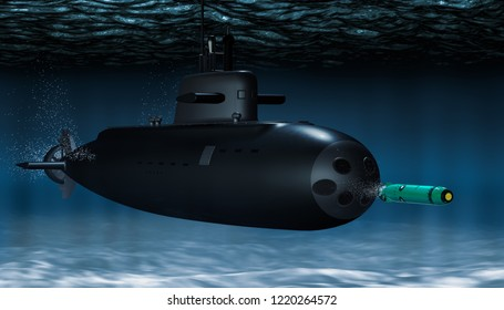 Submarine with torpedo underwater, 3D rendering