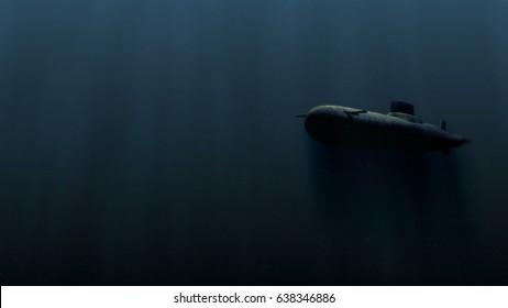 submarine underwater with bobm explosion 3d illustration