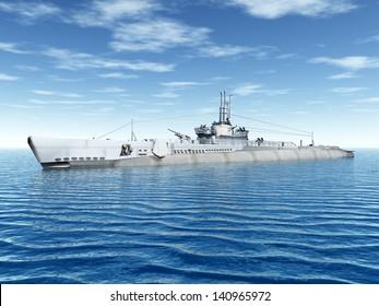 Submarine USS Trigger Computer generated 3D illustration