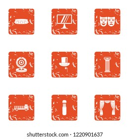 Submission icons set. Grunge set of 9 submission icons for web isolated on white background
