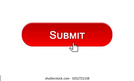 Submit web interface button clicked with mouse cursor, red color, online