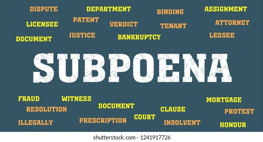 subpoena Words and tags cloud