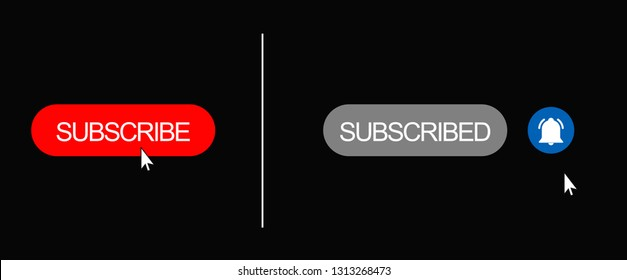 Subscribe Button, Subscribed with Red Bell on Dark Grey Background - Illustration