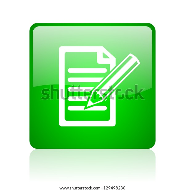 subscribe green square web icon on white background