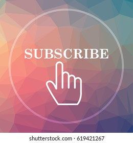 Subscribe icon. Subscribe website button on low poly background.
