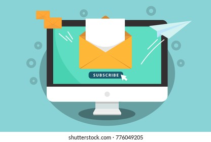 Subscribe to newsletter concept. Subscribe button with the cursor on the computer screen. Open message with the document. Paper airplane icon. Illustration
