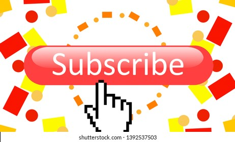 Subscribe notification and subscribed button mouse arrow cursor click to allow channel subscribers
