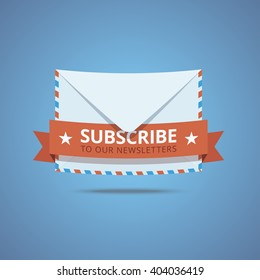 Subscribe to our newsletter vector illustration. Envelope icon with decorative ribbon and text.