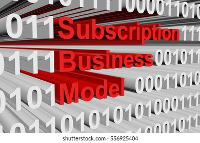 subscription business model in the form of binary code, 3D illustration