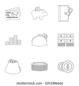 Subsidization icons set. Outline set of 9 subsidization icons for web isolated on white background
