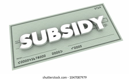 Subsidy Check Handout Support Help Backing 3d Illustration