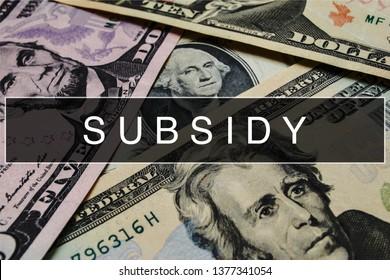 Subsidy Closeup Concept. Subsidy at Dollar Banknote.