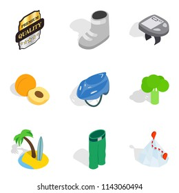 Subsidy icons set. Isometric set of 9 subsidy icons for web isolated on white background