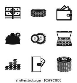 Subsidy icons set. Simple set of 9 subsidy icons for web isolated on white background
