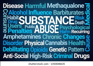 Substance Abuse Word Cloud on Blue Background