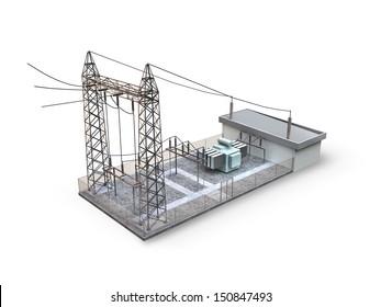 Substation isolated on white background