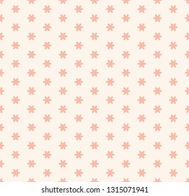 Subtle minimal raster seamless pattern with tiny geometric flowers, snowflakes, stars. Simple pink and white abstract floral texture. Cute vintage background. Repeat design for decor, fabric, prints
