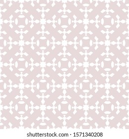Subtle raster floral geometric seamless pattern. Abstract ornament texture with flower silhouettes, curved shapes, crosses, grid, repeat tiles. Elegant pale pink and white background. Delicate design