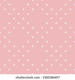 Subtle raster floral seamless pattern. Simple minimalist geometric texture. Cute pink and white abstract graphic background. Delicate minimal ornament with tiny flowers, small crosses. Repeated design