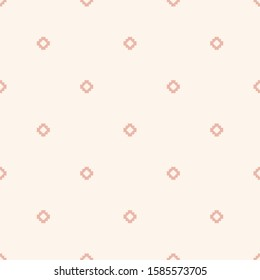 Subtle raster minimalist floral geometric seamless pattern. Simple texture with small crosses, squares, flower silhouettes, dots. Pixel art background. Pink and white color. Minimal repeat design