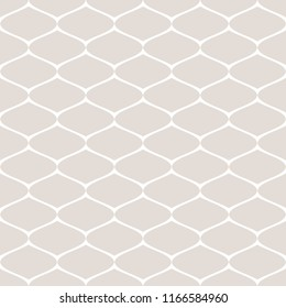 Subtle seamless pattern of mesh, lattice, grid, fishnet, tissue, lace, net. Raster monochrome abstract repeat background. Simple delicate white and beige geometric texture. Decorative design element