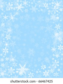 Subtly rendered snowflakes on a light blue background.