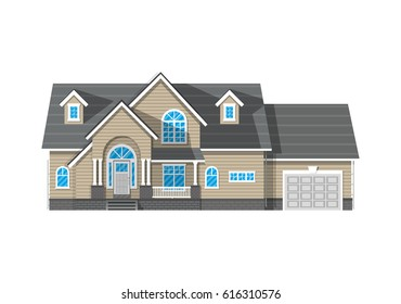 Suburban family house with garage. Countrysdie wooden house icon. illustration in flat style