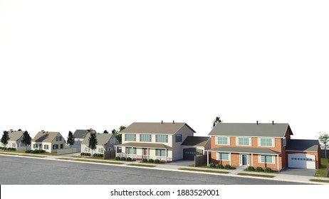 Suburban real estate concept with white background. High income housing. fancy neighborhood. Digital 3D render.