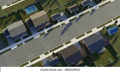 Suburban real estate investment. High income housing. fancy neighborhood. Digital 3D render.