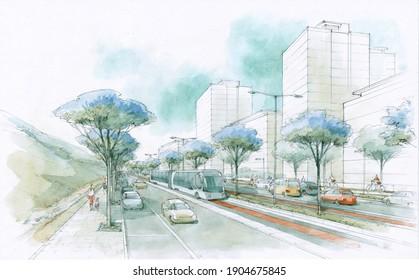 Suburban tram and auto highway