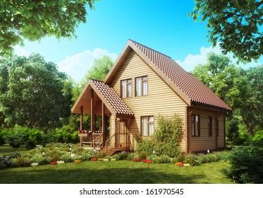 Suburban wooden house. Cozy home exterior.