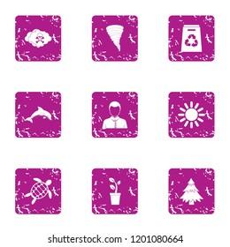 Suburbia icons set. Grunge set of 9 suburbia icons for web isolated on white background