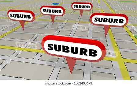 Suburbs Areas Subarban Cities Map Pins 3d Illustration