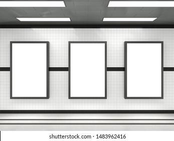 Subway advertising light box Large blank billboard Banner signage mock up display Modern interior 3d render