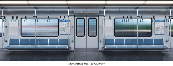 Leerwagen, U-Bahn-Querschnitt, 3D-Darstellung