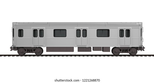 Subway Car Isolated (side view). 3D rendering
