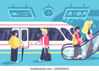 Subway interior with people train and escalator. Station with metro train underground platform and moving staircase flat style concept illustration. Tube railway transport