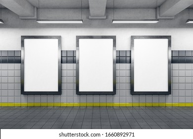 Subway station with three blank poster on gray wall. Advertisement and urban concept. 3D Rendering