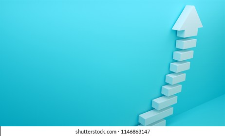 Succes arow with stairs, 3d rendering background, symbol of budiness development