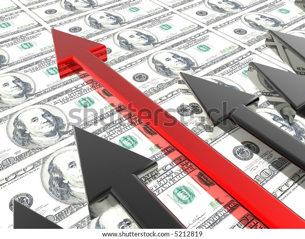 Success arrow in the money background