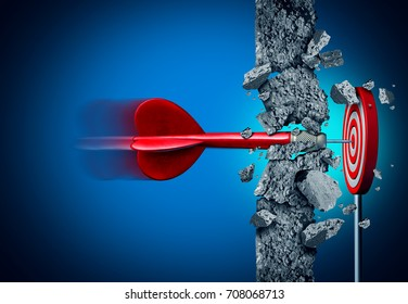 Success breaking through without limits and overcoming obstacles as a concrete wall to achieve as a metaphor for a cure or business hitting a financial target with 3D illustration elements on black.