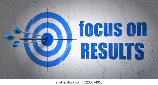 Success business concept: arrows hitting the center of target, Blue Focus on RESULTS on wall background, 3D rendering