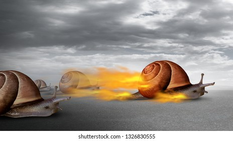 Success competition and competitive advantage over other business competitors as a powerful snail winning over others as a concept for overcoming challenges in a 3D illustration style.