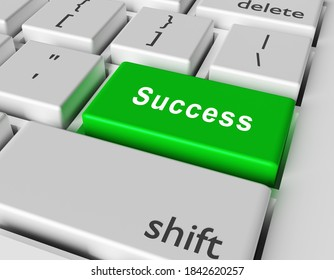 Success concept. Word Success on button of computer keyboard. 3d rendering