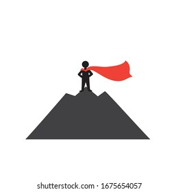 Success concept.A man with a red cloak stands on top of a mountain. Winner.Number one.Symbol of success.Winning from competitors. Isolated stock illustration on a white background.