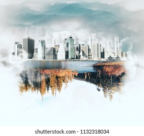 Success and development concept with autumn lake view under abstract piece of megapolis city. 3D rendering