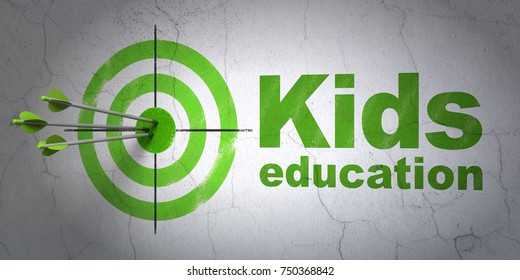 Success Education concept: arrows hitting the center of target, Green Kids Education on wall background, 3D rendering