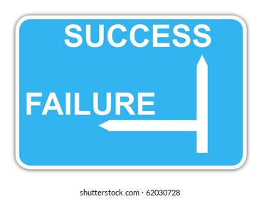 Success and failure blue highway sign with copy space, isolated on white background.