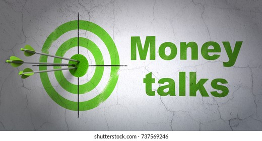 Success finance concept: arrows hitting the center of target, Green Money Talks on wall background, 3D rendering